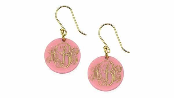 Pink Disc-Style Acrylic Monogram Earrings