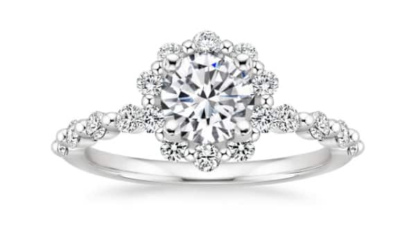 Platinum Shared Prong Style Ring Setting