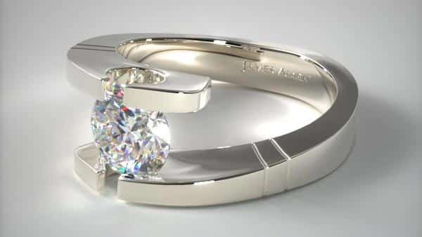 Pointed and Etched Tension Diamond Ring