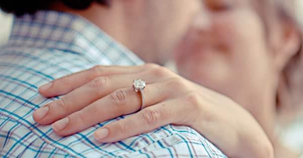 Fiancée Wearing Prong Setting Ring
