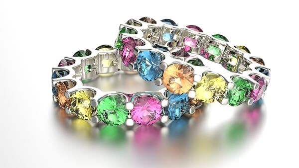 Ring With Multi Colored Gemstones