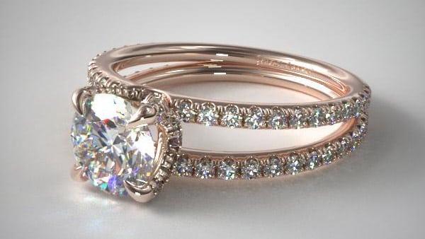 Rose Gold Split Shank Ring Setting
