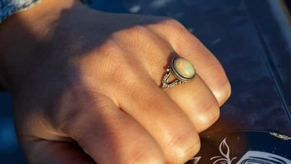 Silver Opal Cabochon Bezel Setting Ring Worn by City Female