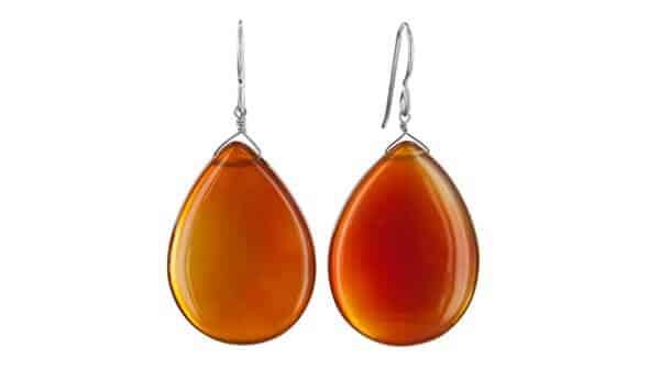 Tear Drop Brown Agate Earrings