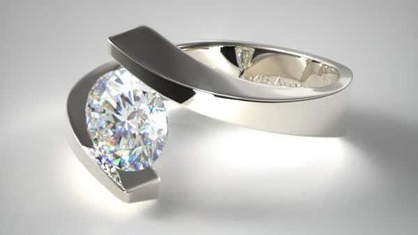 Classic Tension Setting Round Brilliant Diamond Ring
