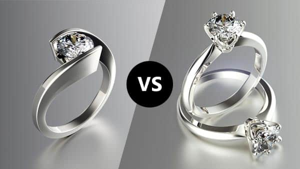 Tension vs. Solitaire Prong Setting
