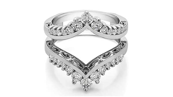 TwoBirch Chevron Vintage Ring Guard With Millgrained Edges and Filigree Cut Out Design