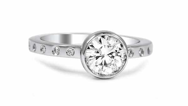 Bezel-Flush Style Diamond Engagement Ring