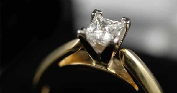 Cathedral Setting Ring: Yellow Gold Princess Cut Diamond Ring