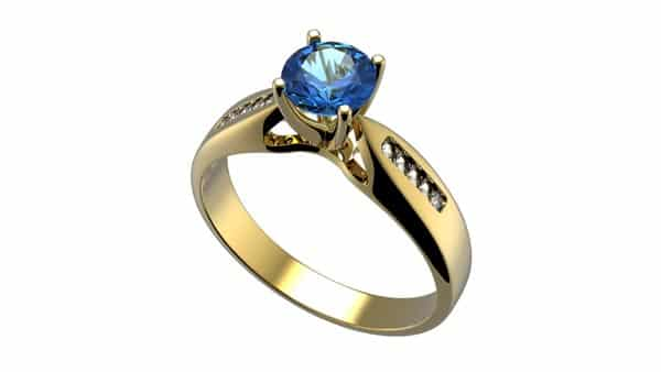 Colored Gem Sapphire Solitaire Cathedral Style Ring