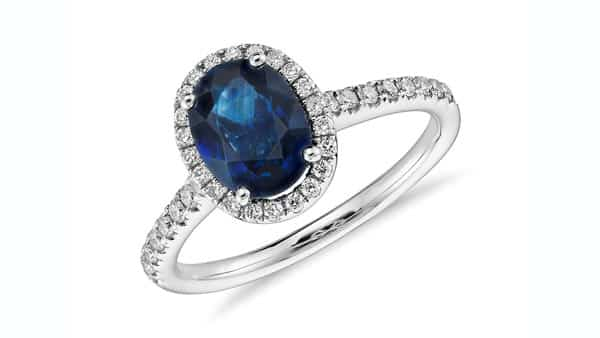 Colored Gemstone Blue Sapphire Pavé Style Ring