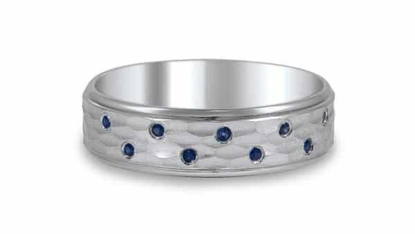 Colored Gemstone Flush Style Wedding Ring