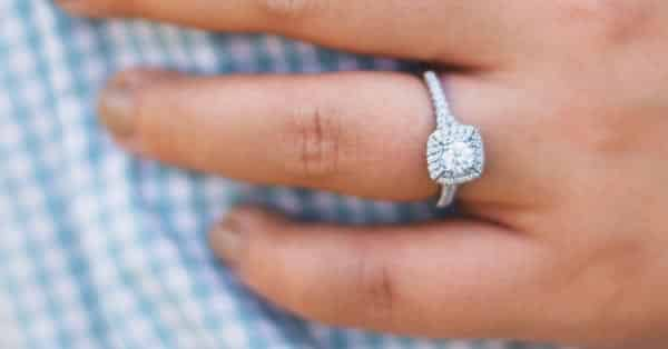 Halo Style Pavé Setting Engagement Ring
