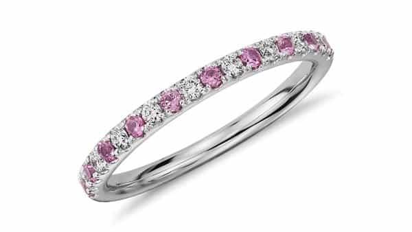 Pavé Style Pink Sapphire Diamond Band