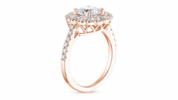 Rose Gold Halo Style Cathedral Ring