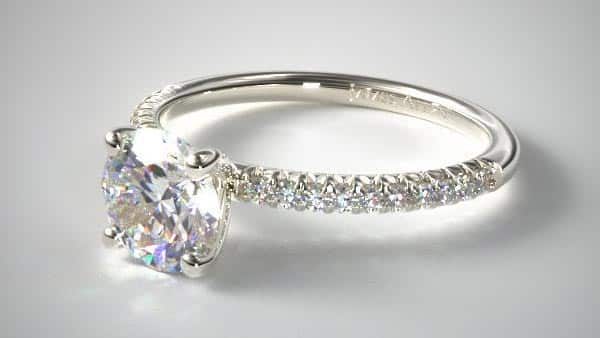 Solitaire Prong Pavé Engagement Ring