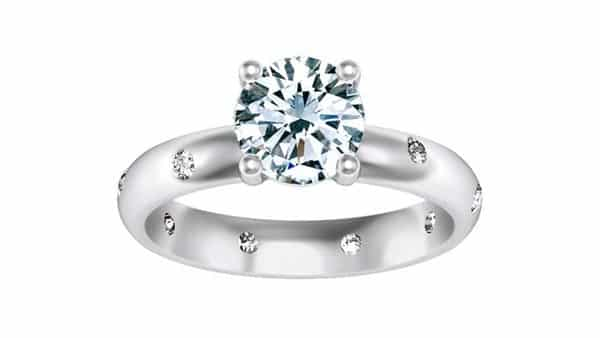 Solitaire Prong Ring With Diamond Flush Band