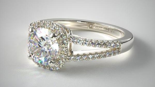 Split Shank Halo Pavé Setting Diamond Ring