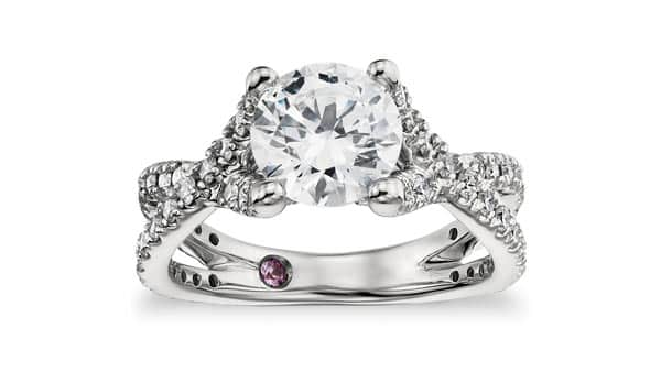 Solitaire Diamond Ring With Twisted Cathedral Arches