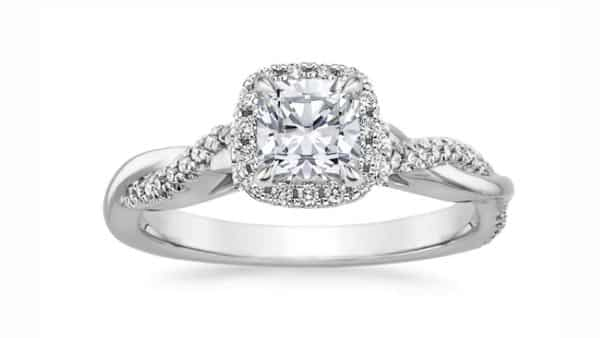 Twisted Style Pavé Shank Diamond Ring