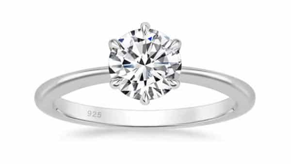 925 Sterling Silver Solitaire Cubic Zirconia Engagement Ring