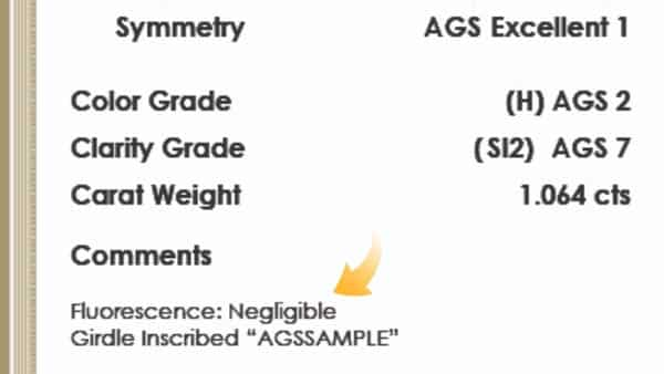 AGS Report Fluorescence Info