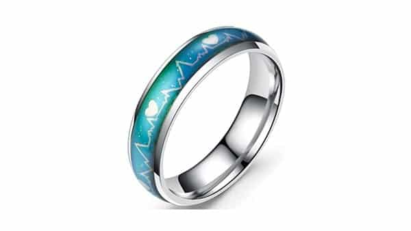 Jude Jewelers Mood Ring Wedding Band (With Heart Patterns)