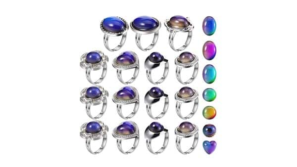 Adjustable Mood Rings for Girls and Boys (15 Pieces, Multi Shapes)
