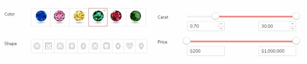 Colored Gem General Buying Assessment With Filtering Options