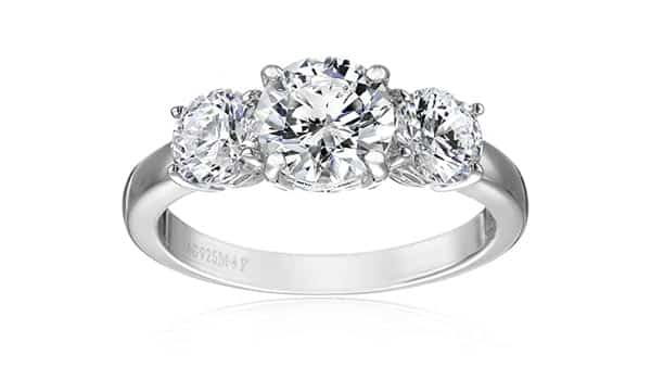 Platinum Plated Silver Cubic Zirconia Side Stone Ring