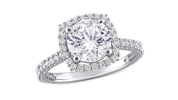 Cushion Style Halo Round Cut White Sapphire Ring