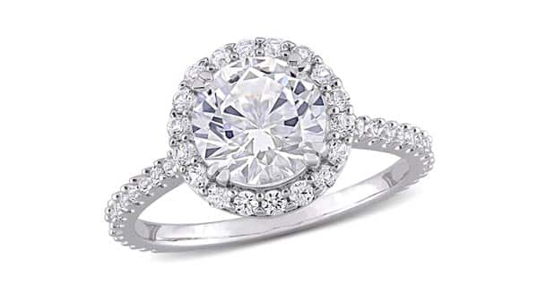 Halo Style White Sapphire Ring With Pave Band