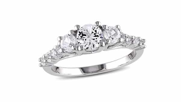 Lab-Created White Sapphire Engagement Ring in Sterling Silver