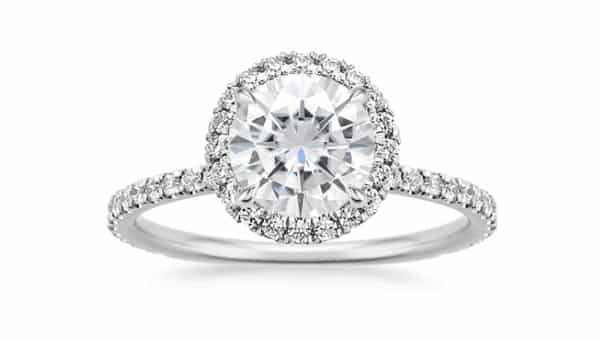 Moissanite and Lab-Created Diamond Ring