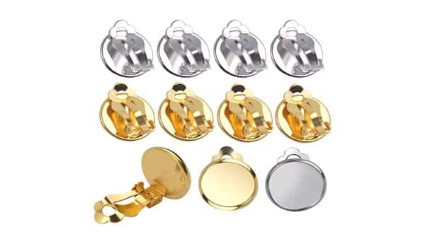 Round Tray Paddle-Back Earring Clip-on Converter (Silver, Yellow Gold and Rose Gold)