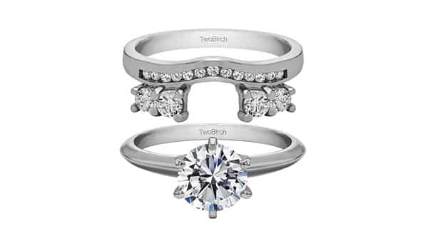 TwoBirch Solitaire Ring Guard With Sparkling Cubic Zirconia
