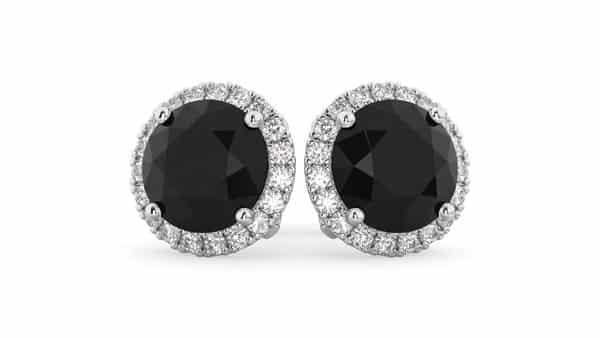 Halo-Style Black Diamond Studs