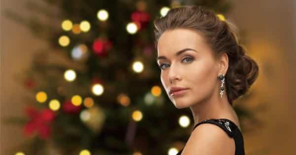 Beautiful Lady Wearing Black Diamond Earrings