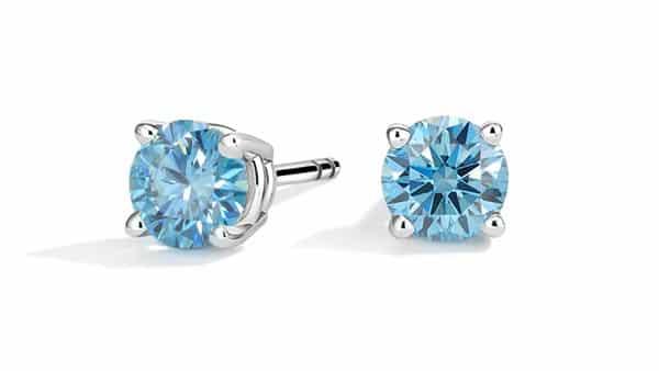 Lab-Created Blue Diamond Earrings (1 CTW)