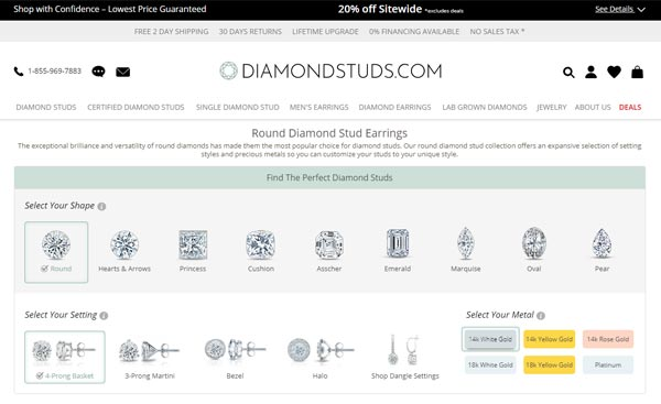 The Customization Page Of DiamondStuds.com
