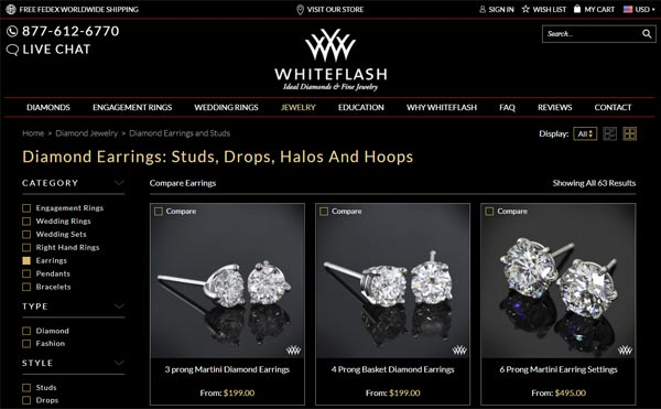 """Shopping For """"A Cut Above"""" Diamond Earrings on Whiteflash"""