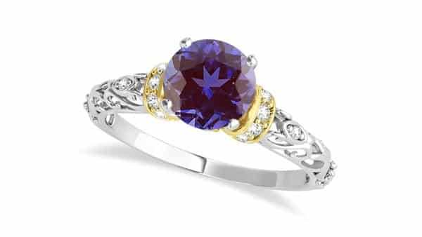 Color-Changing Alexandrite Ring With Filigree Designs