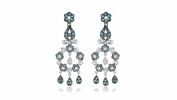Blue Diamond Chandelier Earrings