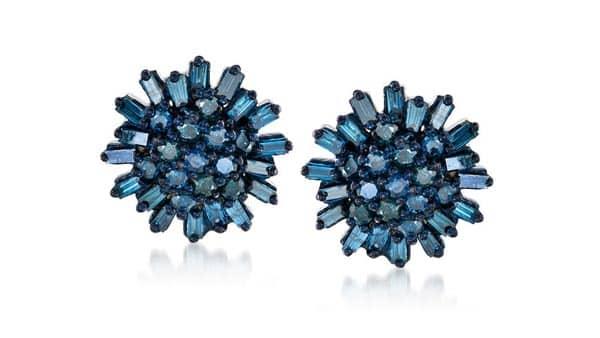 Blue Diamond Cluster Earrings (Ross-Simons)