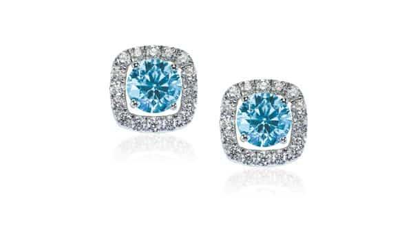 Blue Diamond Earrings (Halo Style)