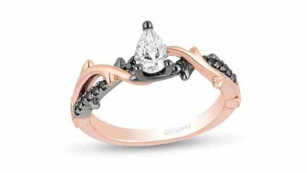 Pear-Shaped Two-Tone Black Rhodium Gold Ring