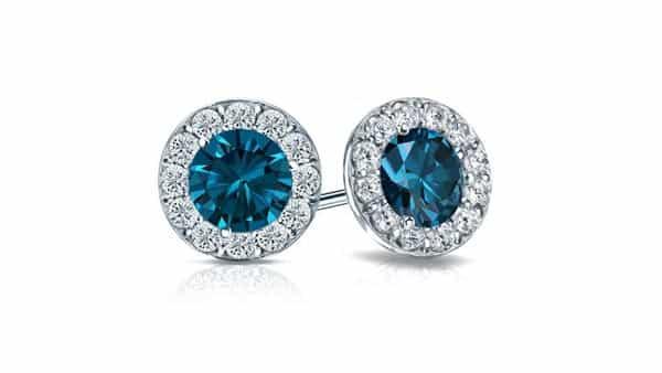 Halo Style Blue Diamond Stud Earrings