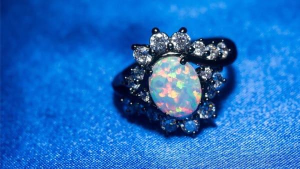 Halo Style Precious White Opal Ring