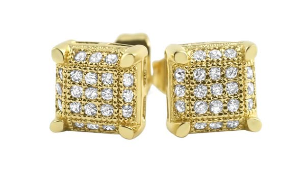 Hip-Hop Earrings With Micro Pave Cubic Zirconia