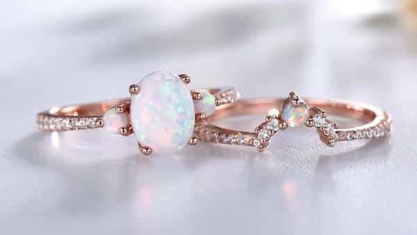 Opal Engagement Ring Set (Rose Gold)